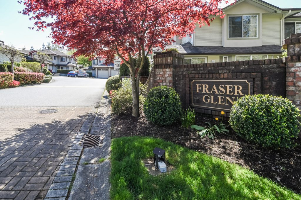 """Fraser Glen Complex"" Adult 45+ Large Kitchen with Stainless Steel appliances, bright & spacious eating area, Formal Dining Room with sliders leading out to patio & grass area. The Living room includes cozy gas fireplace. This unit is a 2 bedroom, & Den. The large Master bedroom includes a 4 piece en suite with soaker tub plus separate shower. Well managed complex with newer roof and gutters. Great Amenities, Indoor Pool, Hot tub, Exercise center, plus Clubhouse."